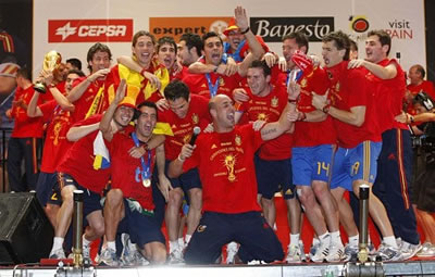 Spain celebrating World Cup Win