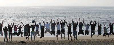 A team jumping